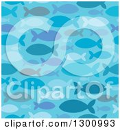 Blue Seamless Silhouetted Fish Pattern Background