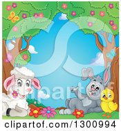 Clipart Of A Cartoon Cute Spring Lamb Resting With A Chick And Rabbit Under Trees With Blossoms And Butterflies Royalty Free Vector Illustration by visekart