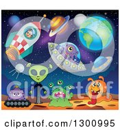 Clipart Of A Cartoon White Astronaut Boy In A Rocket With Aliens Planets And Ufos Royalty Free Vector Illustration by visekart
