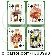 Queen Of Spades Playing Cards Over Green
