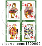 Queen Of Diamonds Playing Cards Over Green