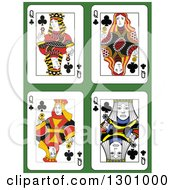Queen Of Clubs Playing Cards Over Green