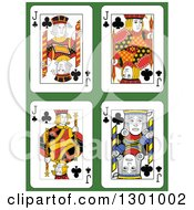 Jack Of Clubs Playing Cards Over Green