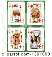 Jack Of Diamonds Playing Cards Over Green