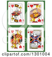 Jack Of Hearts Playing Cards Over Green