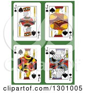 Jack Of Spades Playing Cards Over Green