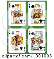 King Of Clubs Playing Cards Over Green