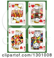 King Of Hearts Playing Cards Over Green