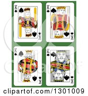 King Of Spades Playing Cards Over Green