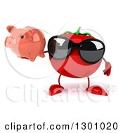 Clipart Of A 3d Tomato Character Wearing Sunglasses And Holding A Piggy Bank Royalty Free Illustration