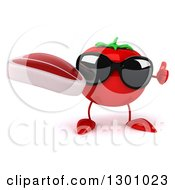 Clipart Of A 3d Tomato Character Wearing Sunglasses Giving A Thumb Up And Holding A Beef Steak Royalty Free Illustration