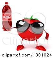Clipart Of A 3d Tomato Character Wearing Sunglasses And Holding A Soda Bottle Royalty Free Illustration