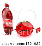 Clipart Of A 3d Unhappy Tomato Character Holding Up A Thumb Down And A Soda Bottle Royalty Free Illustration