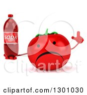 Clipart Of A 3d Unhappy Tomato Character Holding Up A Finger And A Soda Bottle Royalty Free Illustration