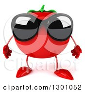Clipart Of A 3d Tomato Character Wearing Sunglasses Royalty Free Illustration