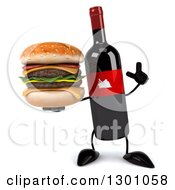 Clipart Of A 3d Wine Bottle Mascot Holding Up A Finger And A Double Cheeseburger Royalty Free Illustration