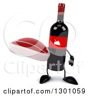Clipart Of A 3d Wine Bottle Mascot Holding A Beef Steak Royalty Free Illustration