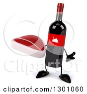 Clipart Of A 3d Wine Bottle Mascot Shrugging And Holding A Beef Steak Royalty Free Illustration
