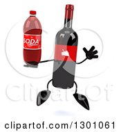 Clipart Of A 3d Wine Bottle Mascot Jumping And Holding A Soda Bottle Royalty Free Illustration