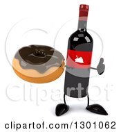 Clipart Of A 3d Wine Bottle Mascot Giving A Thumb Up And Holding A Chocolate Frosted Donut Royalty Free Illustration