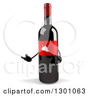 Clipart Of A 3d Wine Bottle Mascot Presenting Royalty Free Illustration