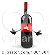 Clipart Of A 3d Wine Bottle Mascot Shrugging Or Welcoming Royalty Free Illustration