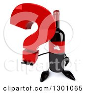 Clipart Of A 3d Wine Bottle Mascot Holding Up A Question Mark Royalty Free Illustration