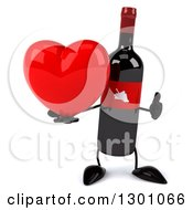 Clipart Of A 3d Wine Bottle Mascot Holding A Thumb Up And A Heart Royalty Free Illustration