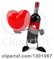 Clipart Of A 3d Wine Bottle Mascot Holding And Pointing To A Heart Royalty Free Illustration