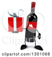 Clipart Of A 3d Wine Bottle Mascot Holding A Gift Royalty Free Illustration
