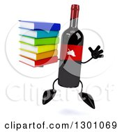 Clipart Of A 3d Wine Bottle Mascot Jumping And Holding A Stack Of Books Royalty Free Illustration