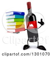 Clipart Of A 3d Wine Bottle Mascot Holding Up A Finger And A Stack Of Books Royalty Free Illustration