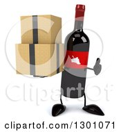 Clipart Of A 3d Wine Bottle Mascot Giving A Thumb Up And Holding Boxes Royalty Free Illustration