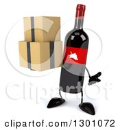 Clipart Of A 3d Wine Bottle Mascot Shrugging And Holding Boxes Royalty Free Illustration