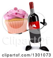 Clipart Of A 3d Wine Bottle Mascot Holding Up A Finger And A Pink Frosted Cupcake Royalty Free Illustration