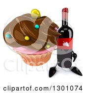 Clipart Of A 3d Wine Bottle Mascot Holding Up A Chocolate Frosted Cupcake Royalty Free Illustration
