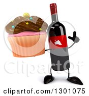Clipart Of A 3d Wine Bottle Mascot Holding Up A Finger And A Chocolate Frosted Cupcake Royalty Free Illustration
