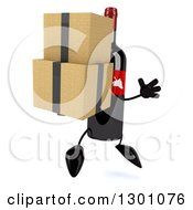 Clipart Of A 3d Wine Bottle Mascot Facing Right Jumping And Holding Boxes Royalty Free Illustration