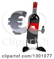 Clipart Of A 3d Wine Bottle Mascot Giving A Thumb Up And Holding A Euro Symbol Royalty Free Illustration