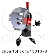 Clipart Of A 3d Wine Bottle Mascot Facing Right Jumping And Holding A Euro Symbol Royalty Free Illustration