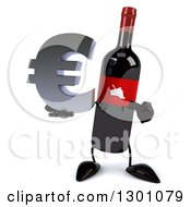 Clipart Of A 3d Wine Bottle Mascot Holding And Pointing To A Euro Symbol Royalty Free Illustration
