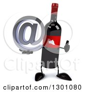 Clipart Of A 3d Wine Bottle Mascot Holding An Email Arobase At Symbol And Giving A Thumb Up Royalty Free Illustration