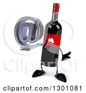 Clipart Of A 3d Wine Bottle Mascot Shrugging And Holding An Email Arobase At Symbol Royalty Free Illustration