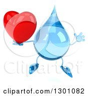Clipart Of A 3d Water Drop Character Jumping And Holding A Heart Royalty Free Illustration