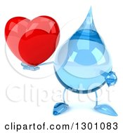 Clipart Of A 3d Water Drop Character Holding And Pointing At A Heart Royalty Free Illustration