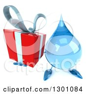 Clipart Of A 3d Water Drop Character Holding Up A Gift Royalty Free Illustration