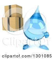 Clipart Of A 3d Water Drop Character Holding And Pointing To Boxes Royalty Free Illustration