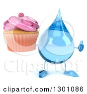 Clipart Of A 3d Water Drop Character Giving A Thumb Up And Holding A Pink Frosted Cupcake Royalty Free Illustration