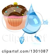 Clipart Of A 3d Water Drop Character Facing Slightly Right Jumping And Holding A Chocolate Frosted Cupcake Royalty Free Illustration