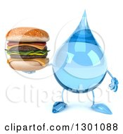 Clipart Of A 3d Water Drop Character Holding A Double Cheeseburger Royalty Free Illustration